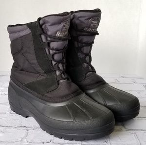 Kamik Black Gray Insulated Lace Up Snow Boots 8